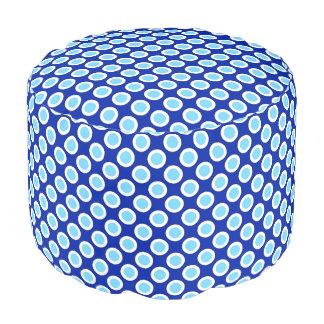 Retro circled dots, cobalt blue and white round pouf