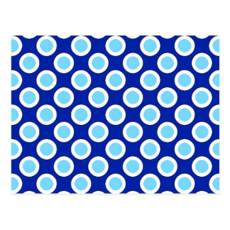 Retro circled dots, cobalt blue and white postcard