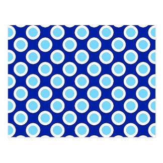 Retro circled dots, cobalt blue and white postcard