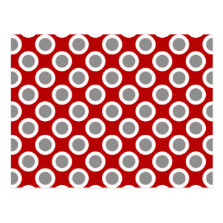 Retro circled dots, deep red and gray postcard