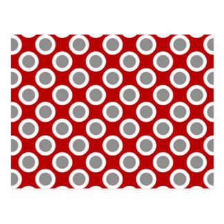 Retro circled dots, deep red and gray postcard