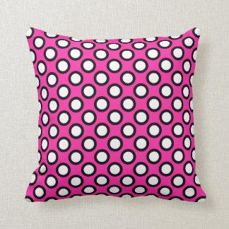 Retro circled dots, fuchsia, black and white throw pillow