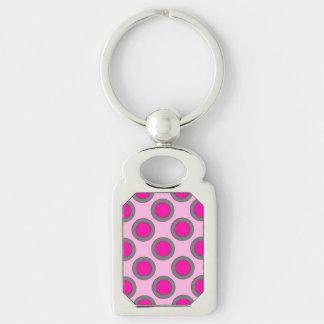 Retro circled dots, fuchsia, grey and pink key chains