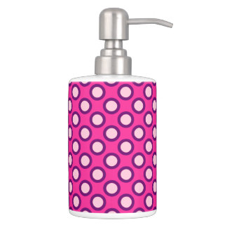 Retro circled dots, magenta, pink and purple soap dispenser and toothbrush holder