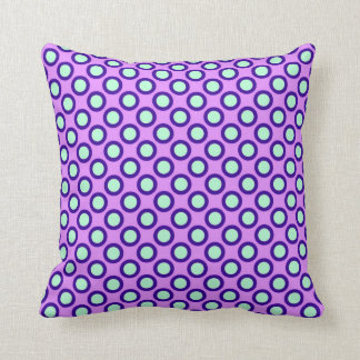 Retro circled dots, orchid, violet and blue cushions