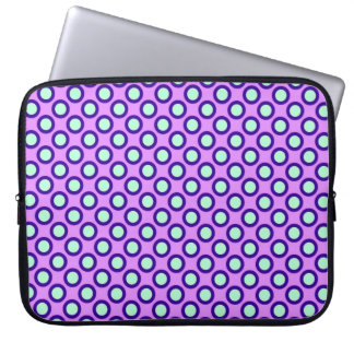 Retro circled dots, orchid, violet and blue laptop sleeves