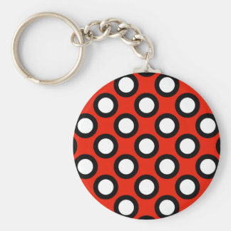Retro circled dots, red, black and white keychains