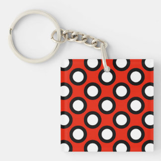 Retro circled dots, red, black and white acrylic keychain