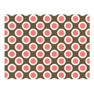 Retro circled dots, taupe and coral pink postcard