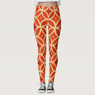 Retro Circles 60's Pattern Leggings