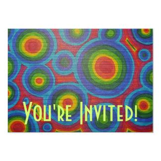 Retro Circles - Abstract Colorful Rainbow Art 5x7 Paper Invitation Card