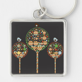 Retro Circles Abstract Trees Keychain