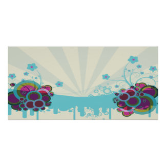retro circles and flowers blue tans posters