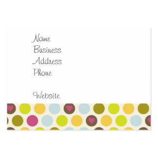 Retro Circles and Hearts Pattern Green Gold Blue Business Cards