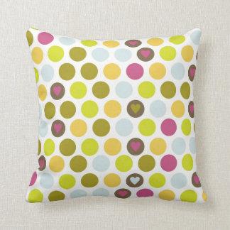 Retro Circles and Hearts Pattern Green Gold Blue Cushion