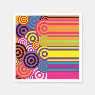 Retro Circles and Stripes 60's Style Pattern Paper Napkin