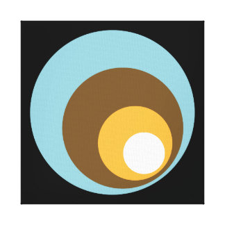 Retro Circles Black Blue Brown Orange & White Canvas Print