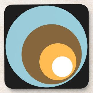 Retro Circles Black Blue Brown Orange & White Coasters