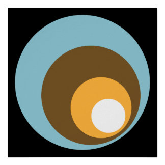 Retro Circles Black Blue Brown Orange & White Posters
