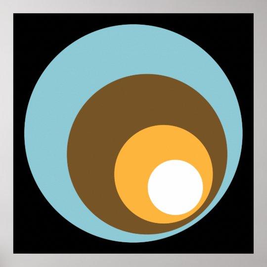 Retro Circles Black Blue Brown Orange & White