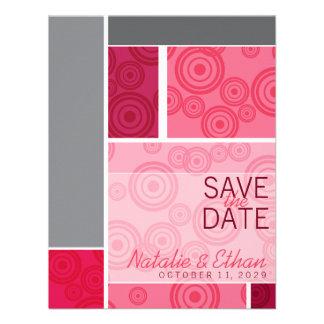 Retro Circles Blocks Red Save The Date Invite