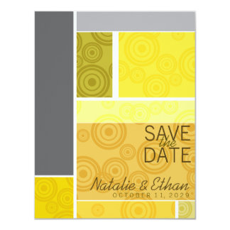Retro Circles Blocks Yellow Save The Date Invite