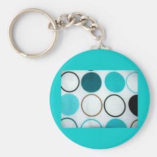 Retro Circles Blue And White Keychain