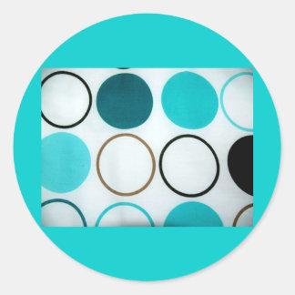 Retro Circles Blue And White Round Stickers