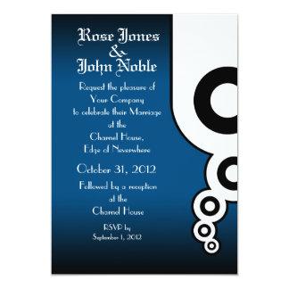 Retro Circles (Blue) Wedding Invitation