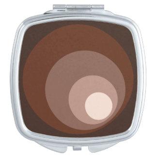 Retro Circles Brown Rust Taupe Cream Makeup Mirrors