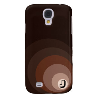 Retro Circles Brown Rust Taupe Crm (+initial) Galaxy S4 Case