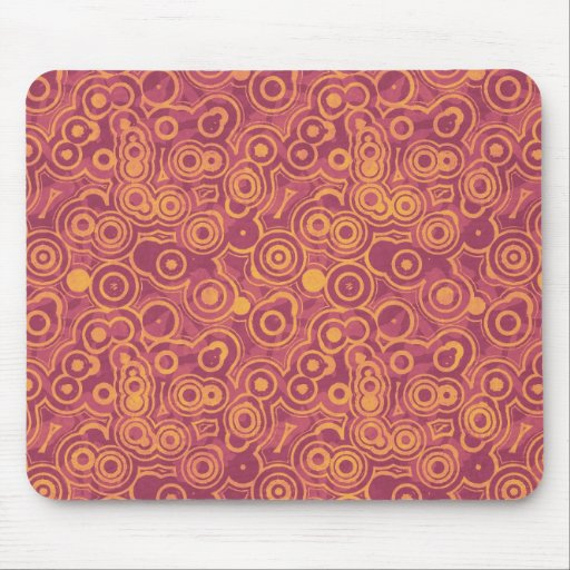 Retro Circles Grunge Pattern Mouse Pad