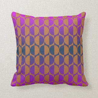 Retro circles magenta, purple, blue, brown throw pillow