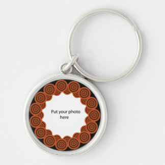 Retro Circles On Black Border Template Add Photo Key Chains