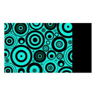 Retro Circles Pattern Teal Blue Black Business Card