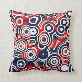 Retro circles red white and blue pillow throw pillows