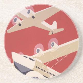 Retro City of New York Airports WPA Poster Coaster