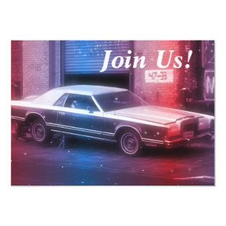 Retro Classic 70's Car Retirement Birthday Party Card