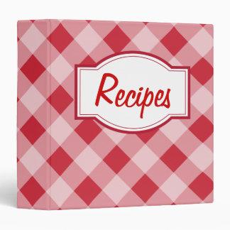 Retro Classic Red Gingham Recipe Organizer Binder