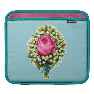 Retro Classy Sassy Vintage Wedding Bouquet Blue iPad Sleeves