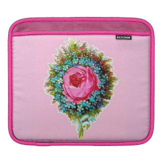 Retro Classy Sassy Vintage Wedding Bouquet Pink iPad Sleeve