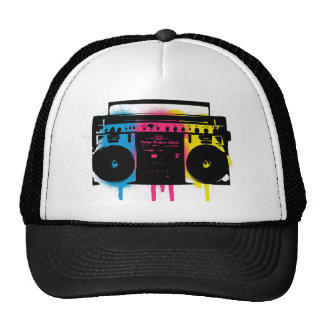 Retro CMYK Boombox Grafitti Spray Paint Design Cap