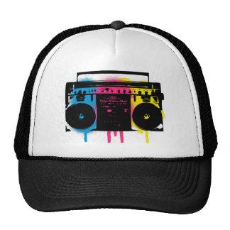 Retro CMYK Boombox Grafitti Spray Paint Design Hat