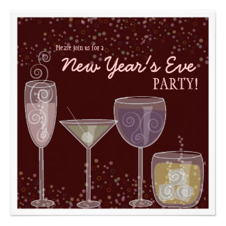 Retro Cocktail Celebration New Year's Eve Party Invite
