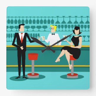 Retro Cocktail Lounge Acrylic Wall Clock