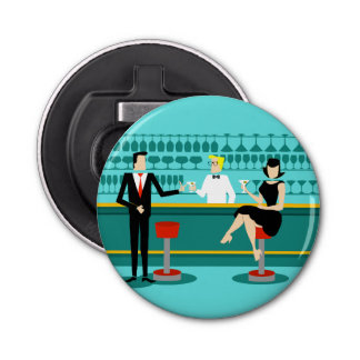 Retro Cocktail Lounge Button Bottle Opener