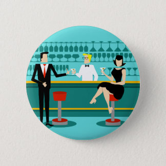 Retro Cocktail Lounge Couple Button