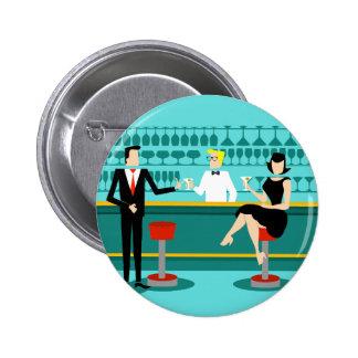 Retro Cocktail Lounge Couple Button