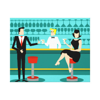Retro Cocktail Lounge Stretched Canvas Print