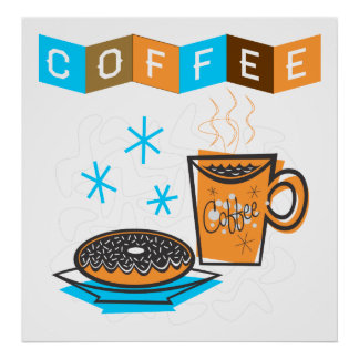 Retro Coffee and Donut Poster